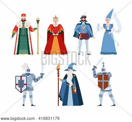 Middle Ages Fairy Tale People Characters, Flat Vector Illustration Isolated.