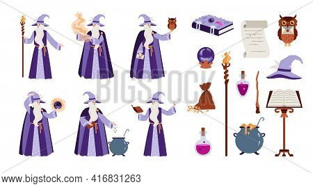 Wizard Or Sorcerer With Witchcraft Items, Flat Vector Illustration Isolated.