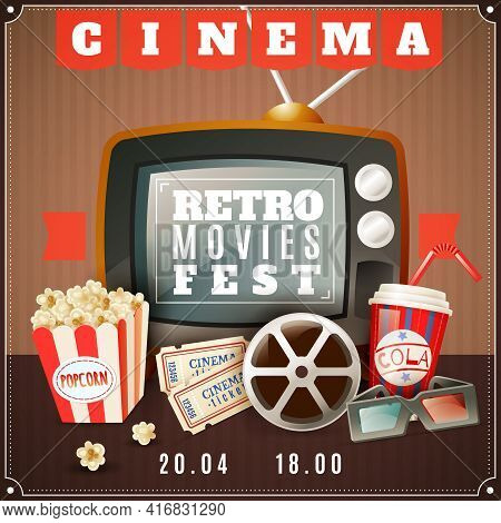 Retro Movies Festival Announcement Poster With Old Tv  3d Glasses And Classic Cinema Theater Attribu