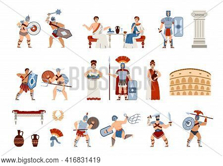 Ancient Rome Citizens And Culture Symbols, Cartoon Vector Illustration Isolated.