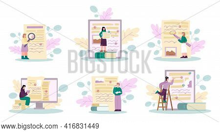 Document Revision And Grammar Editor Set, Cartoon Vector Illustration Isolated.
