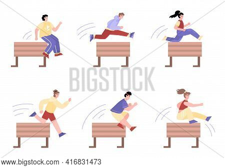 Sportive People Jumping Over Obstacles Or Hurdles, Cartoon Vector Isolated.