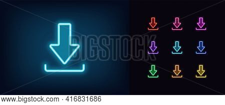 Neon Download Icon. Glowing Neon Download Sign, Outline Arrow Pictogram In Vivid Colors. Online Data