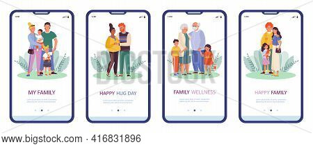 Onboarding Pages Bundle On Family Thematic, Flat Vector Illustration.