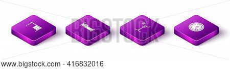 Set Isometric Office Desk, Bed, Coat Stand And Clock Icon. Vector