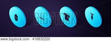 Set Isometric Tie, Polo Shirt, Bra And Balaclava Icon. Vector