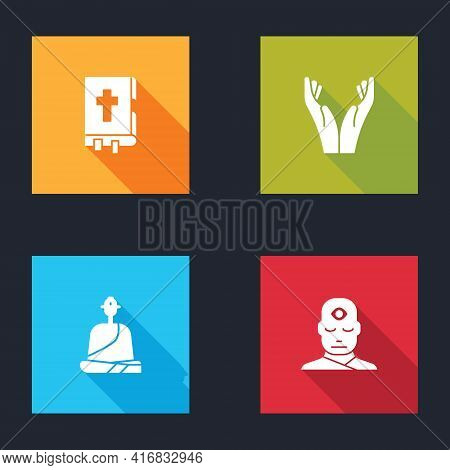Set Holy Bible Book, Hands In Praying Position, Buddhist Monk And Man With Third Eye Icon. Vector