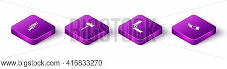 Set Isometric Shotgun, Road Traffic Sign, Trap Hunting And Hunting Horn Icon. Vector