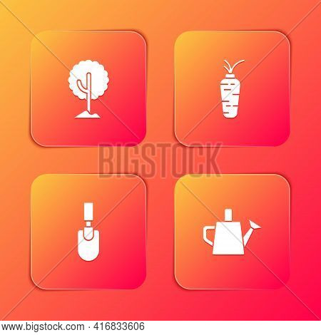 Set Tree, Carrot, Garden Trowel Spade Or Shovel And Watering Can Icon. Vector