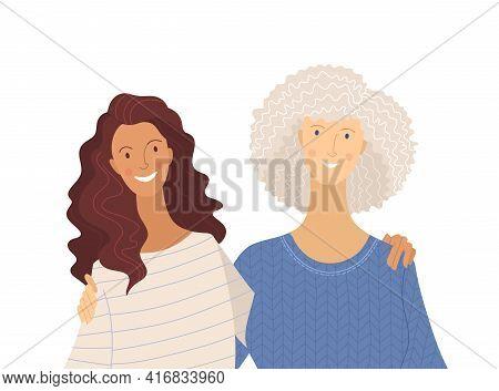 Granddaughter And Grandma Flat Vector Illustration On White Background