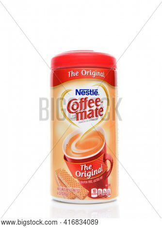 IRVINE, CALIFORNIA - AUGUST 14, 2019: Coffee-Mate Creamer from Nestle., original flavor.