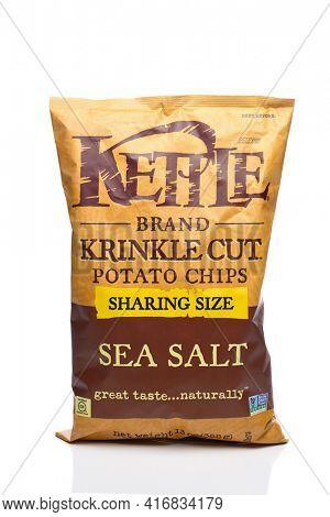 IRVINE, CALIFORNIA - 25 MAY 2020: A bag of Kettle Brand Krinkle Cut Sea Salt Potato Chips.