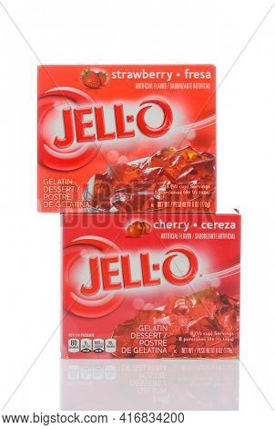 IRVINE, CALIFORNIA - MAY 22, 2019:  Two boxes of Cherry and Strawberry Jell-O, gelatin dessert.