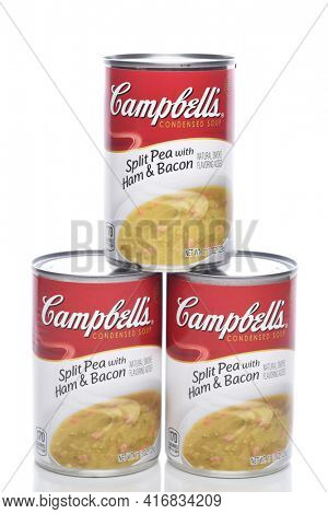 IRVINE, CALIFORNIA - 8 APRIL 2020:  Three Cans of Campbells Split Pea with Ham and Bacon Soup.