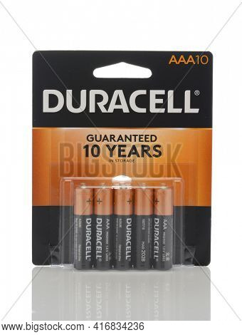 IRVINE, CALIFORNIA - MAY 22, 2019:  A 10 count package of  Duracell AAA Batteries.