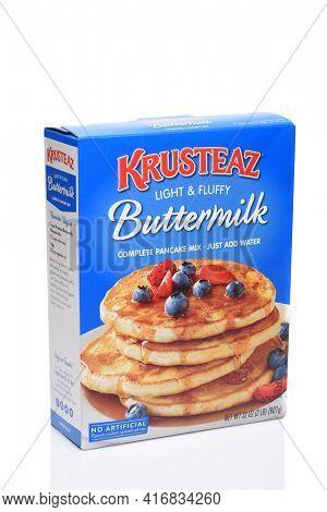IRVINE, CALIFORNIA - 16 SEPT 2019: A box of Krusteaz Buttermilk Light and Fluffy Pancake Mix.