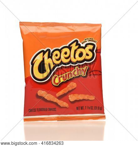 IRVINE, CA - APRIL 4, 2019: A package of Cheetos cheese flavored puff corn snack, from Frito-Lay.