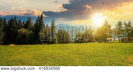 Rural Landscape In Tatra Mountains At Sunset. Spruce Trees On The Green Grassy Meadow Of Gubalowka R