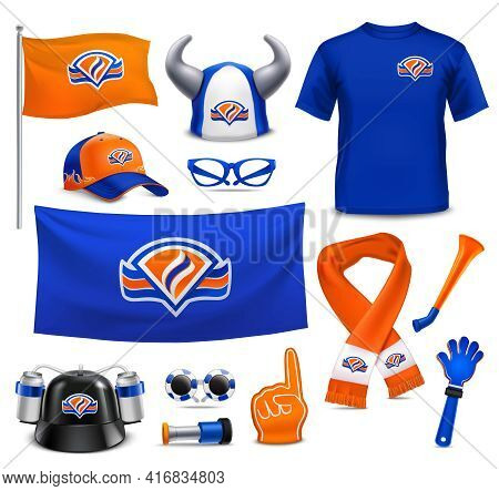National Sport Team Supporters Realistic Accessories Collection In Royal Dutch Colors With Hat Flag