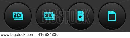 Set 3d Word, 8k Ultra Hd, Cinema Ticket And Sd Card Icon. Vector