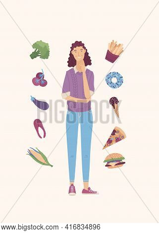 Young Woman Choosing Between Healthy And Junk Food Cartoon Vector Illustration