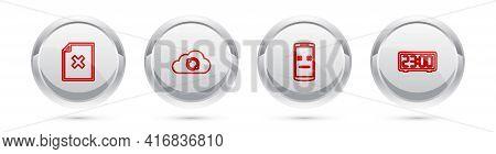 Set Line Delete File Document, Cloud Sync Refresh, Dead Mobile And Digital Alarm Clock. Silver Circl