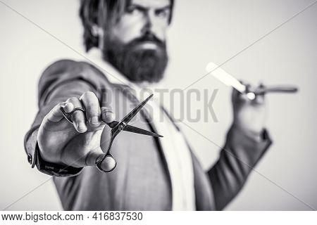 Brutal Guy, Scissors, Straight Razor. Barber Scissors And Straight Razor, Barber Shop, Suit. Vintage