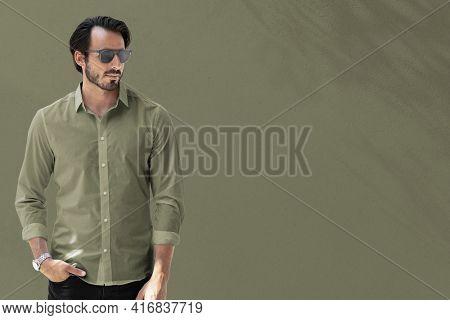 Business casual shirt green men's apparel collection advertisement