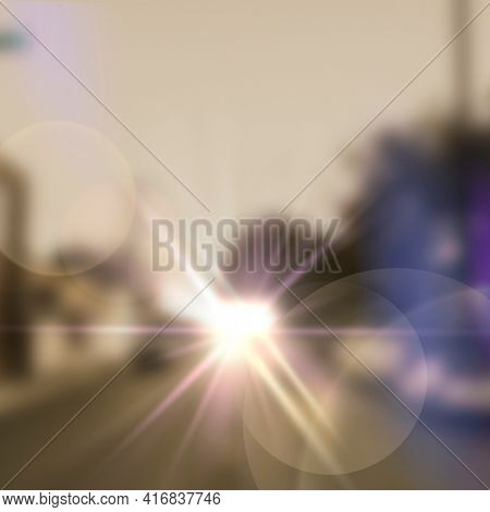 Lens flare with ghost lighting effect on street shoot background image