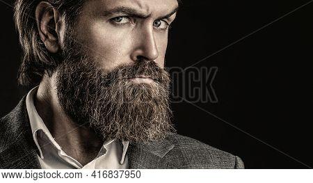 Elegant Handsome Man In Suit. Handsome Bearded Businessman. Portrait Of Handsome Bearded Man In Suit