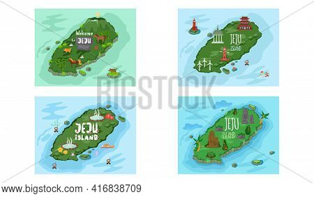 Welcome To Jeju Island In South Korea, Traditional Landmarks, Symbols. Korean Land With Traditional
