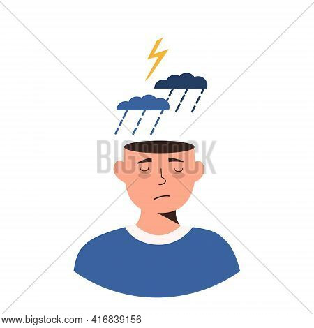 Man In Depression Concept. Sad And Depressed Guy Under Storm Cloud, Rain And Thunderstorm. Upset Neg