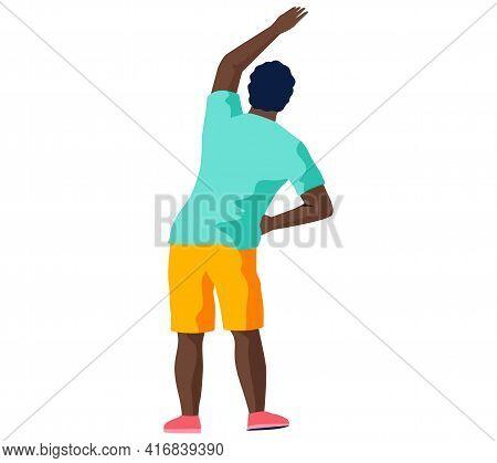 Man Doing Morning Exercises, Training. Sportive Male Trainer Bending. Sportsman Flexing Muscles