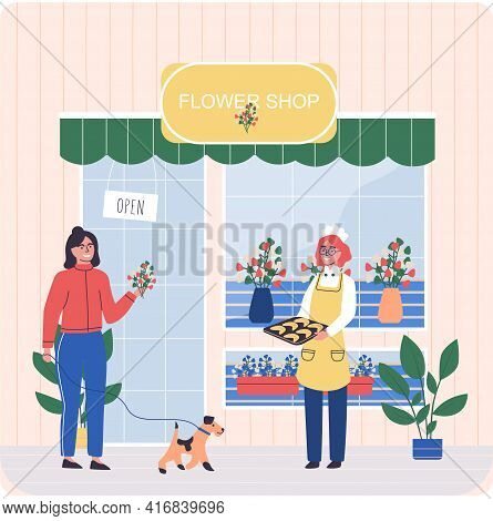 Flower Shop Showcase And Florist Treats Client With Baked Goods. Floral Market Family Business