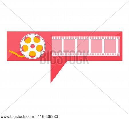 Videotape Symbol For Recording Movies. Movie And Cinema Industry. Making Visual Content Concept