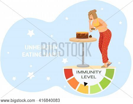 Girl With With High-calorie Cake Has Dinner. Immunity Level Decreases Due To Poor Nutrition