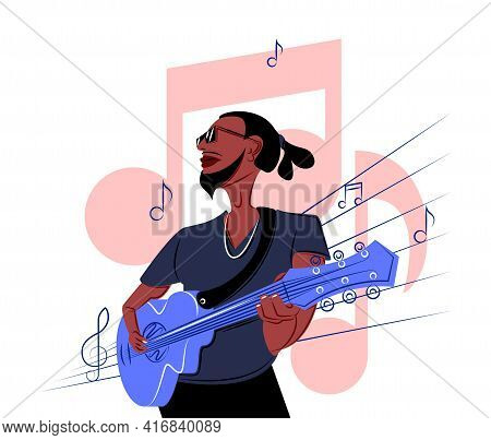 Vector Black Guitarist In Shadow Of Sharp Lines Style