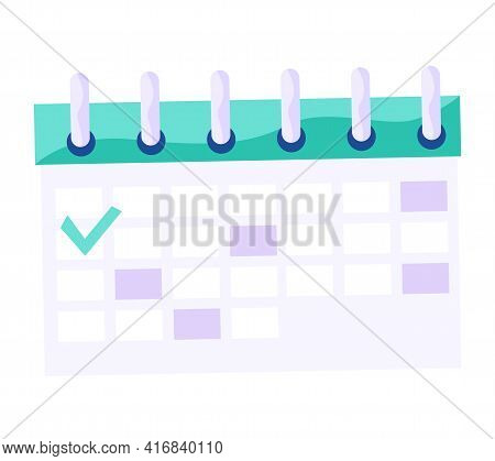 Reversible Calendar For Hanging On Wall And Setting Date. Daily Routine Planner With Check Mark Sign