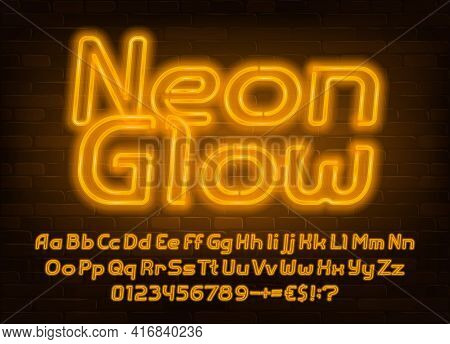 Neon Glow Alphabet Font. Yellow Neon Light Letters, Numbers And Punctuation. Uppercase And Lowercase