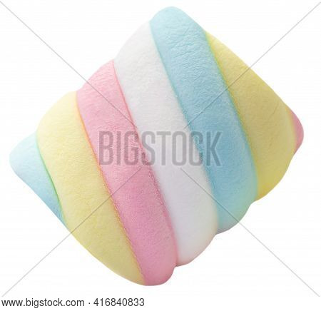 Marshmallow Candy  White, Yellow And Pink Isolated On White Background.
