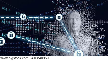 Composition of grey human digital bust with network of icons padlocks over world map. global technology, digital interface and data processing concept digitally generated image.
