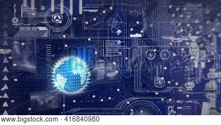 Composition of glowing globe and digital icons over computer processor circuit board. global digital interface and technology concept digitally generated image.