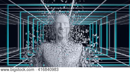 Composition of grey human digital bust over white and blue grid. global technology, digital interface and data processing concept digitally generated image.