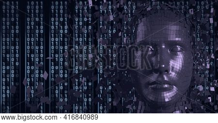 Composition of human digital head over binary coding processing. global technology, digital interface and data processing concept digitally generated image.