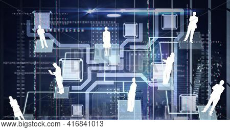 Composition of network with digital icons over computer processor. global technology, digital interface and data processing concept digitally generated image.