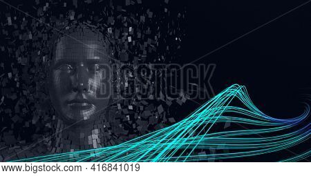 Composition of grey human digital head over blue glowing lines. global technology, digital interface and data processing concept digitally generated image.