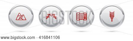 Set Line Mountains, Picnic Table With Benches, Accordion And Wheat. Silver Circle Button. Vector
