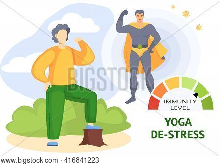 Creative Poster Design With Male Woodcutter Doing Yoga In Park. High Level Of Immunity Concept