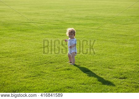 Cute Funny Baby Boy Learning To Crawl Step, Having Fun Playing On The Lawn In The Garden