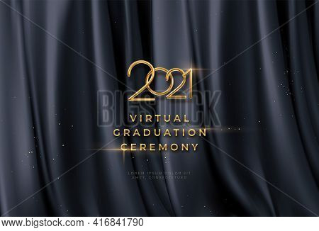 Congratulations Golden Award On Black Silk Background. Graduate Award. Award Nomination Background.